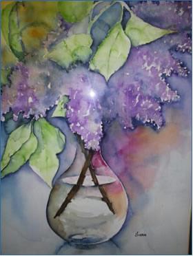 Schilderij van vaas met bloemen