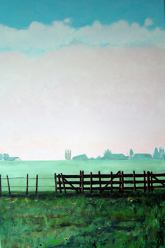 Schilderij weiland met hek van Carien Woudenberg