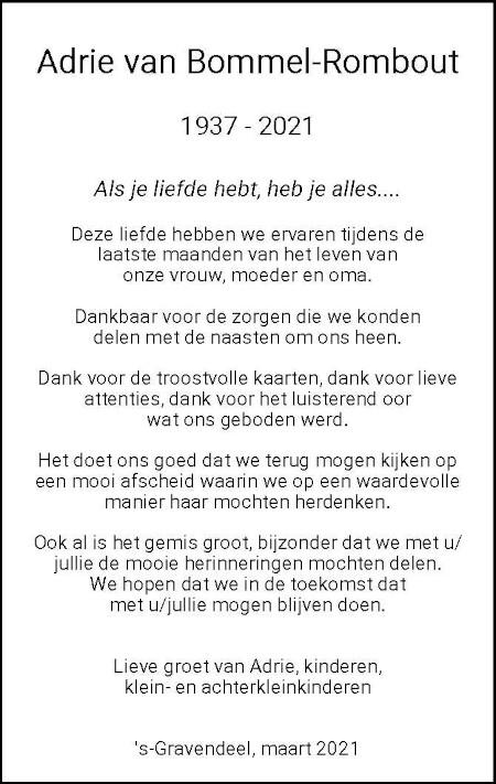 Dankbetuiging A. van Bommel-Rombout 's-Gravendeel
