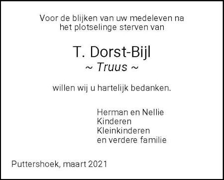 Dankbetuiging T. Dorst-Bijl 's-Gravendeel