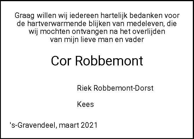 Dankbetuiging C. Robbemont 's-Gravendeel