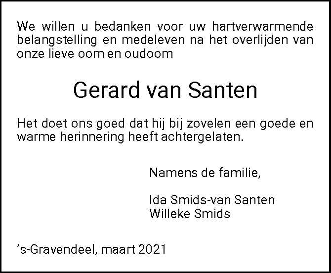 Dankbetuiging G. van Santen uit 's-Gravendeel