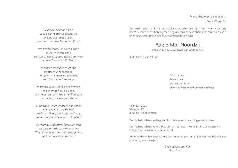 Overlijdensadvertentie Aagje Mol-Noordzij uit 's-Gravendeel