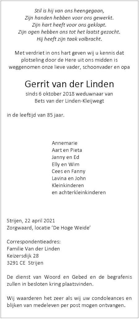 Overlijdensadvertentie Gerrit van der Linden uit 's-Gravendeel