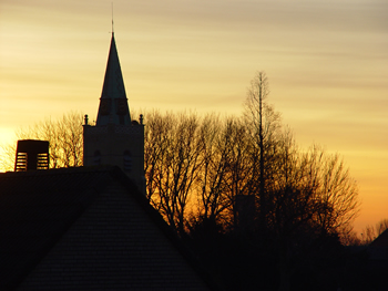Kerk bij zonsopgang