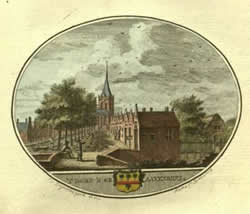 Oude tekening van de kerk in 's-Gravendeel