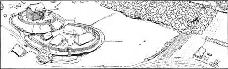 Tekening bovenaanzicht mottekasteel in 's-Gravendeel