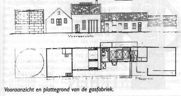Technische tekeningen vooraanzicht en plattegrond gasfabriek 's-Gravendeel