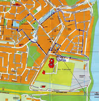 Plattegrond fietsroute verkeersexamen 's-Gravendeel